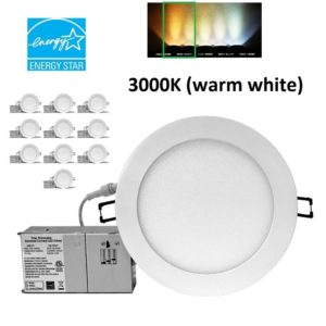 YUURTA 6 Inch Recessed LED Downlight Dimmable 15w 990lm 3000K [10-Pack] White trim
