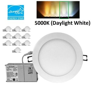 YUURTA 6 Inch Recessed LED Downlight Dimmable 15w 990lm 5000K [10-Pack] White trim