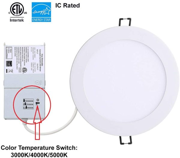 YUURTA 6 Inch Recessed LED Downlight Dimmable 15w 990lm 3CCT White trim