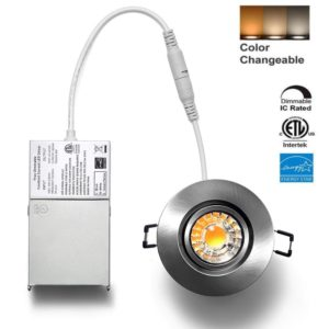 3 inch LED Recessed Downlight Gimbal Brushed Nickel 3CCT Dimmable YUURTA