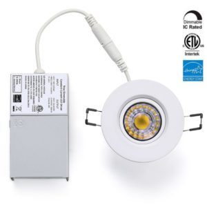 3 inch LED Recessed Downlight Gimbal White trim 4000K